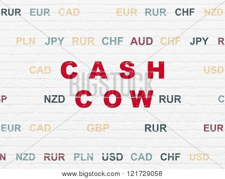 Business concept: Cash Cow on wall background