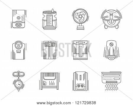 Climate appliances linear vector icons set