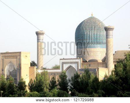 The Gur-Amir Mausoleum of the Asian conqueror Tamerlane in Samarkand Uzbekistan