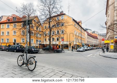 Germany Munich - MAR 12 : Vestenrider Strasse. The old part of town with restaurants and shops on March 12 2012 in Munich Germany.