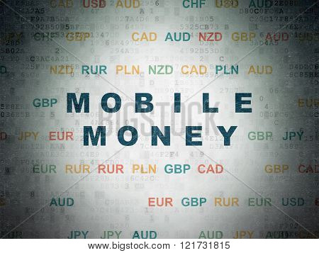 Currency concept: Mobile Money on Digital Paper background