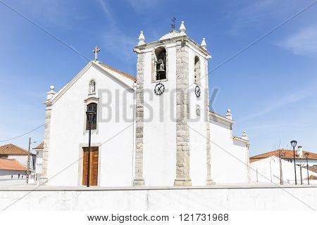 São Domingos white church in Vale de Figueira town, Santarém, Portugal