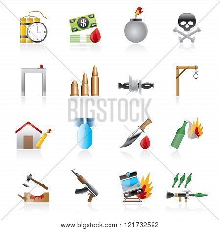 terrorism and gangster equipment icons