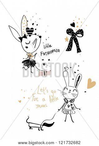 cutie rabbit sketch with dog  illustration
