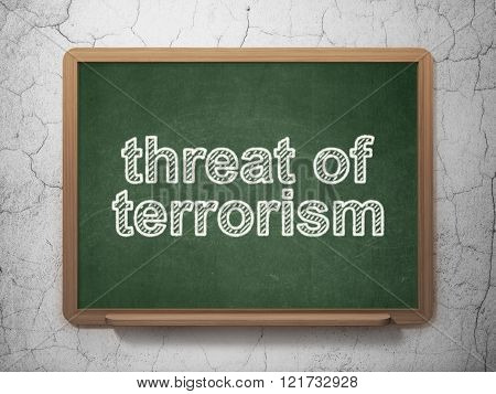 Politics concept: Threat Of Terrorism on chalkboard background