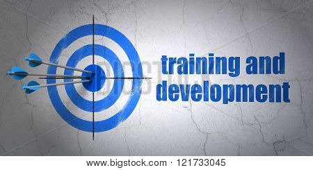 Studying concept: target and Training and Development on wall background