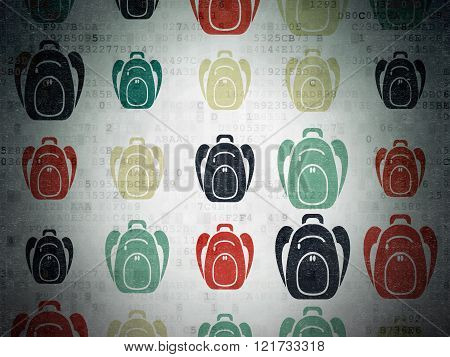 Learning concept: Backpack icons on Digital Paper background