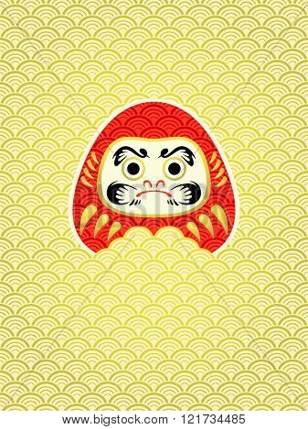 Japanese New Year card with Daruma in waves