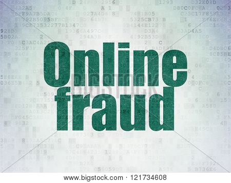 Protection concept: Online Fraud on Digital Paper background
