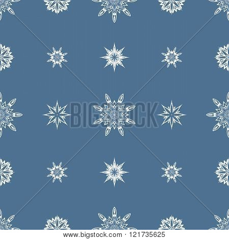 Ornamental Abstract Seamless Pattern Vector Illustration (white and blue)
