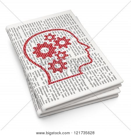 Learning concept: Head With Gears on Newspaper background