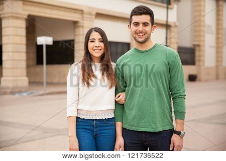 Attractive young Latin couple in love