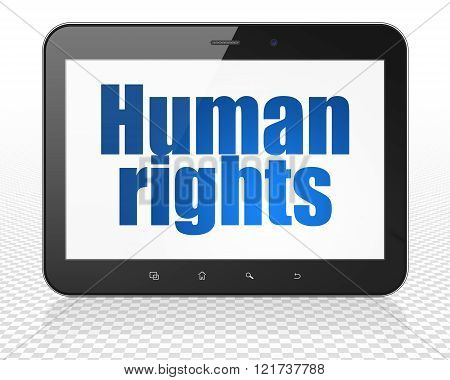 Politics concept: Tablet Pc Computer with Human Rights on display