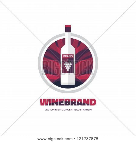 Wine brand - vector logo concept illustration in flat style design. Drink logo sign. Wine bottle.