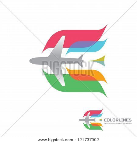 Color airlines - vector logo concept. Aircraft illustration. Airplane logo. Tickets company logo.