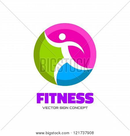 Fitness - vector logo concept illustration. Human character vector logo. Abstract man figure logo.