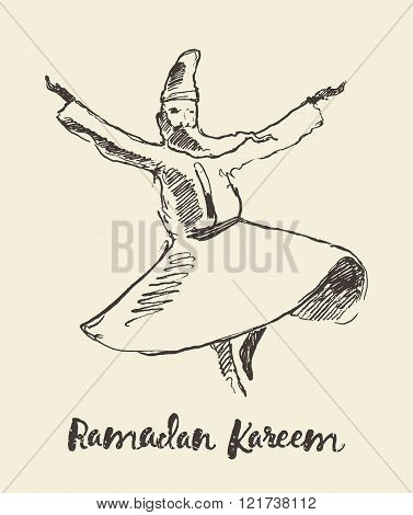 Whirling dervish mevlana sufi hand drawn sketch
