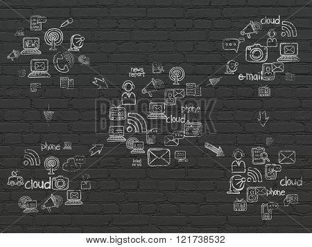 Grunge background: Black Brick wall texture with Painted Hand Drawn News Icons