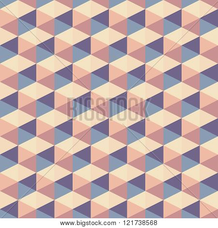 Abstract background vector seamless pattern. Geometric background with 3D cube effect.