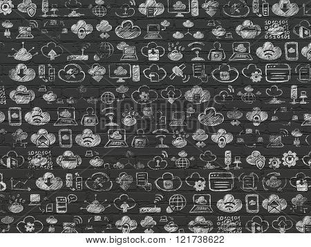 Grunge background: Black Brick wall texture with Painted Hand Drawn Cloud Technology Icons