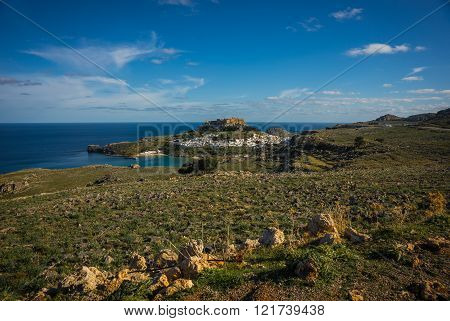 Beautiful landscape with Lindos town on the slope of a hill