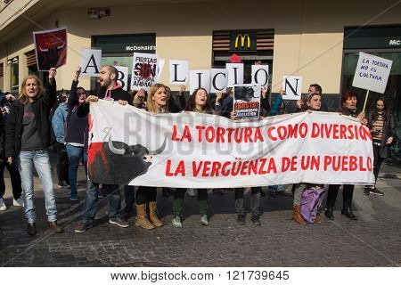 VALENCIA, SPAIN - MARCH 14, 2016: Unidentified protesters in an anti bullfighting demonstrating in the streets of Valencia. Bullfighting currently takes place in nine countries around the world.