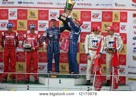 SEPANG, MALAYSIA - JUNE 21: The GT500 winners podium at the Super GT International Series Round 4 race. June 21, 2010 in Sepang Malaysia.