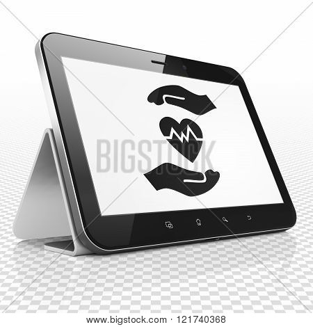 Insurance concept: Tablet Computer with Heart And Palm on display