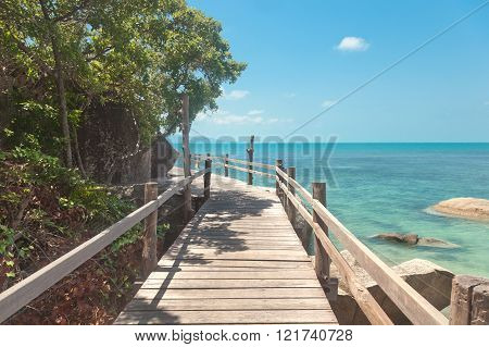 Wooden Bridge Along The Tropical Sea Coast