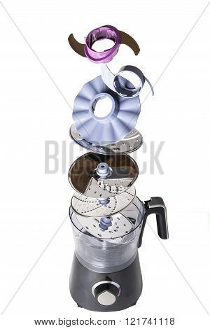 food processor with all the components on a white background detail
