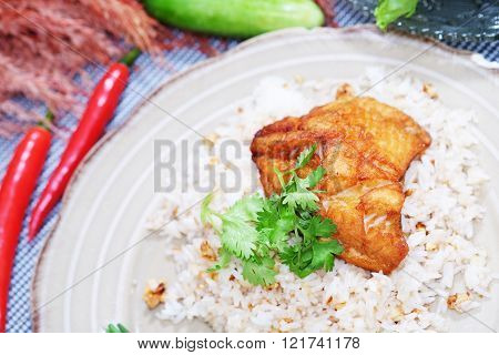 Chicken grill with rice