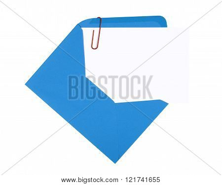 Blank birthday invitation card with blue envelope and red paperclip copy space