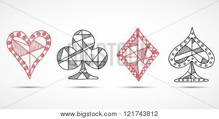 Hand Drawn Sketched Playing Cards, Poker, Blackjack Symbol, Background, Doodle Hearts Diamonds Spade