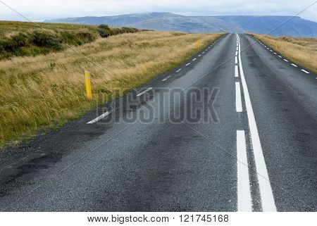 A straight wide road in Iceland Vanishing