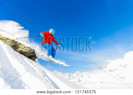 Skiing, Skier, Freeski, Freestyle, Freeride in fresh powder snow