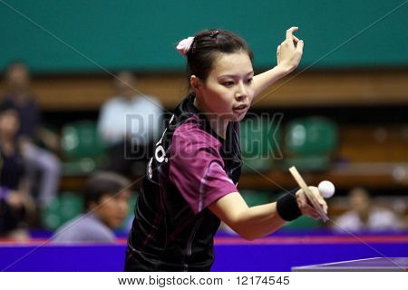 KUALA LUMPUR, MALAYSIA - SEPTEMBER 24: Wu Jiaduo, Germany (ITTF World Rank 11) hits a return shot at the Volkswagen 2010 Women's World Cup in table tennis on September 24, 2010 in Kuala Lumpur.