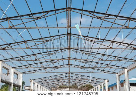 unfinished roof of a factory building horizontal