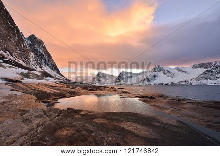 Tungeneset Beach At Sunset? Senja Island, Troms County