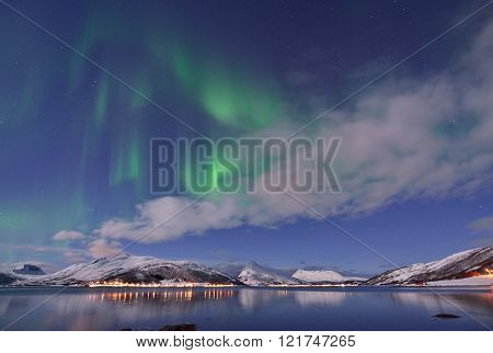 Aurora Borealis Under Full Moon In Senja, Norway