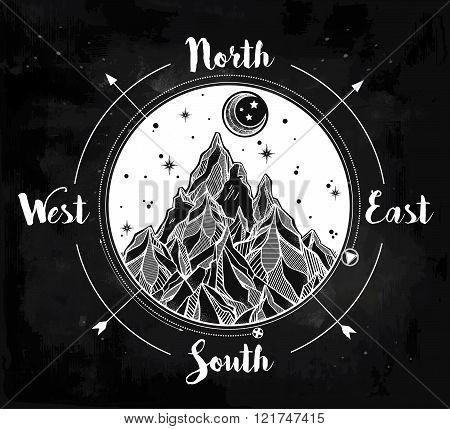 Mountain wind rose vector illustration.