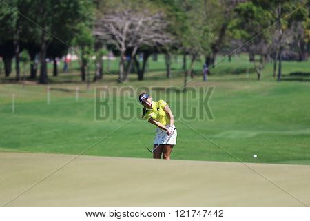 PATTAYA THAILAND - February 27 2016: Lee Bo-mee of South Korea plays the shot of the 2016 LPGA Thailand at Siam Country Club in Chonburi.