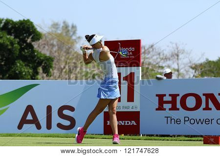 PATTAYA THAILAND - February 27 2016: Michelle Wie of USA plays the shot of the 2016 LPGA Thailand at Siam Country Club in Chonburi.