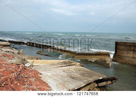 Erosion, Climate Change, Broken Building, Hoi An, Vietnam