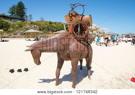 COTTESLOE,WA,AUSTRALIA-MARCH 12,2016:  Horse carrying objects sculpture at the interactive free public arts festival