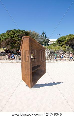 COTTESLOE,WA,AUSTRALIA-MARCH 12,2016:  Geometric wooden balancing sculpture at the interactive public arts festival