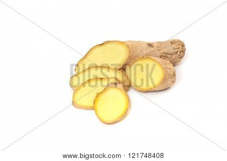 Fine sliced ginger root. All on white background