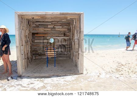 COTTESLOE,WA,AUSTRALIA-MARCH 12,2016:  Interactive rustic wooden viewing sculpture at the free public arts festival
