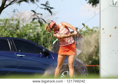 PATTAYA THAILAND - February 27 2016: Lexi Thompson of USA plays the shot of the 2016 LPGA Thailand at Siam Country Club in Chonburi.