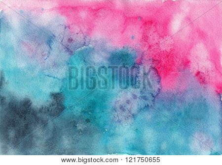 Watercolor abstract pink and emerald green background