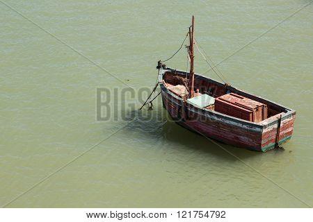 fishing boat moored at the Moroccan town of El Jadida